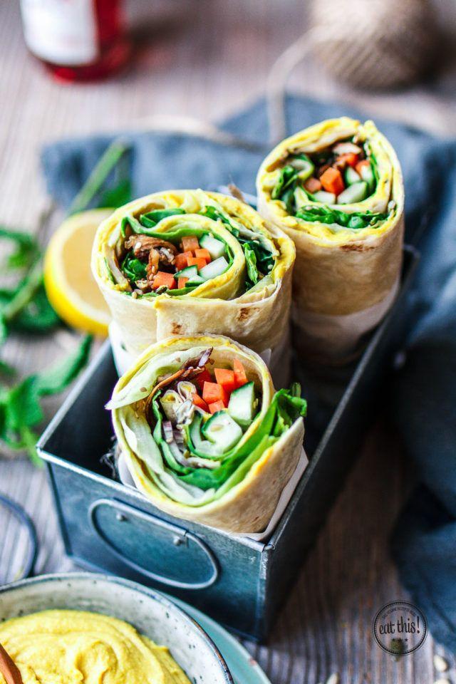 Hummus-Wrap – der perfekte Lunch-Snack! Büroessen. Snacks fürs Büro. gesund essen bei der Arbeit