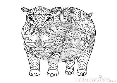 Entregue o hipopótamo tirado do zentangle para o livro para colorir para o adulto, a tatuagem, o projeto da camisa e as outras de
