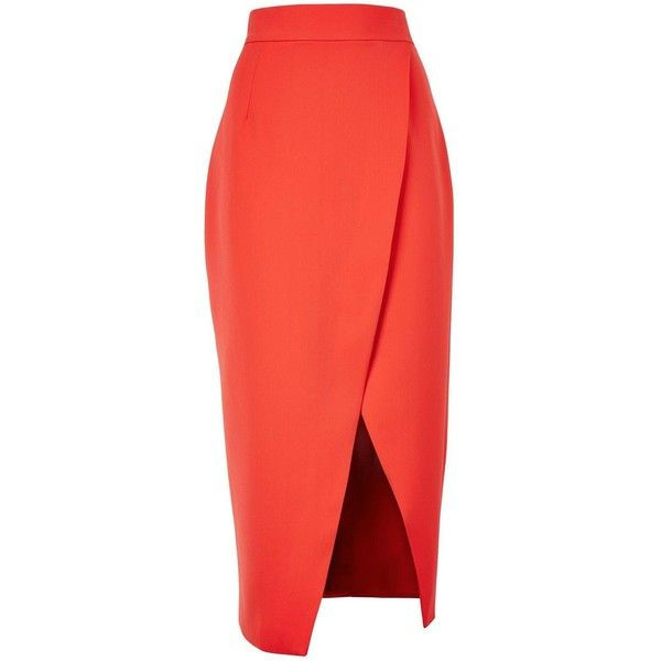 C/Meo Collective Stand Still Pencil Skirt ($160) ❤ liked on Polyvore featuring skirts, orange, red high waisted skirt, midi pencil skirt, high-waisted skirts, orange skirt and stretchy pencil skirt