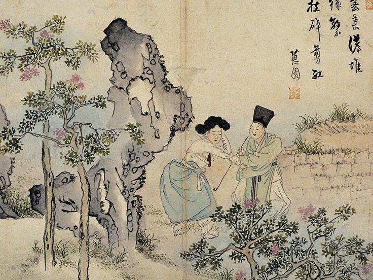 (Korea) 소년전홍 by Shin Yun-bok. aka Hyewon. ca 18th century CE. National Treasures No.135 혜원풍속도첩. 소년전홍