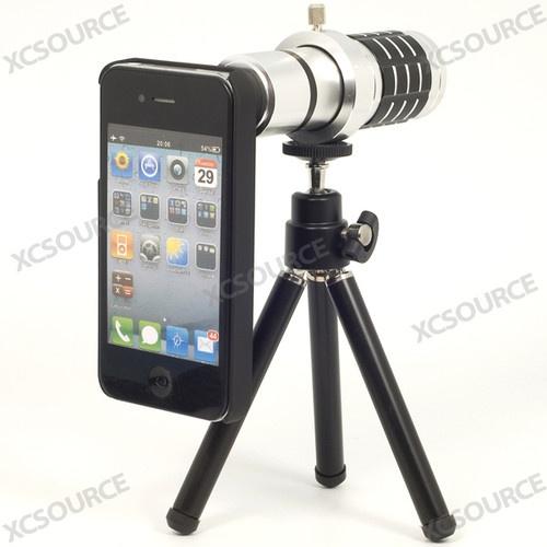 12x zoom Aluminium téléobjectif Objectif +Trépied + Coque pour iPhone 4 4S DC171
