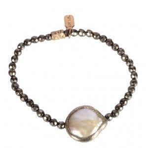 Pulsera de plata piritas y perla www.sanci.es