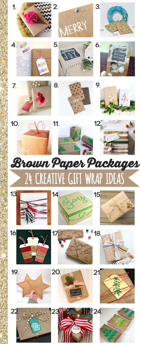 Brown Paper Packages - 24 Creative Gift Wrap Ideas   A slew of inspiration for how to dress up your packages this Christmas using brown paper packages, gift tags, and more.