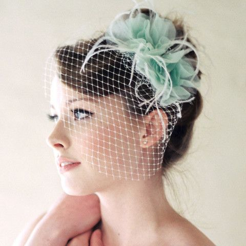 Birdcage wedding veil with two silk flowers