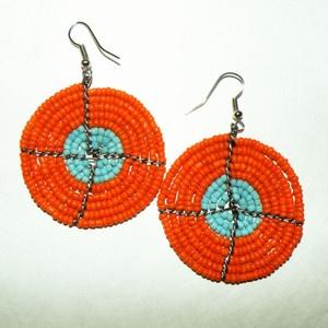 orange & turquoiseJewelry Inspiration, African Tailored, Earrings Sunkissed, Maasai Earrings, Jewelry Ideas