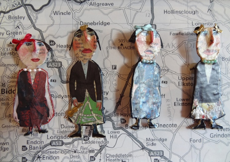 julie arkell - painted papier mache brooches