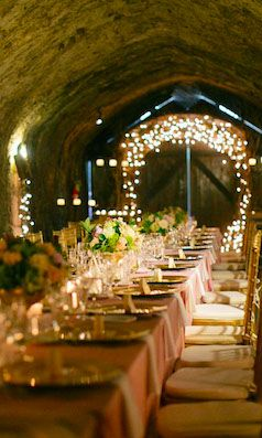 """Unique and Creative Wedding Venues: """"...a wine cellar wedding adds a whole new dimension with an intimate space, rough textures, and low, romantic lighting."""""""