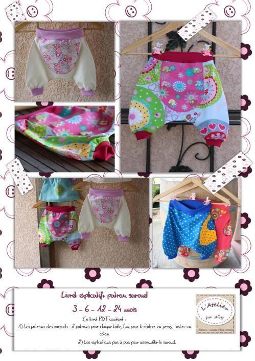 Patron de couture : sarouel bébé  3 à  24 mois