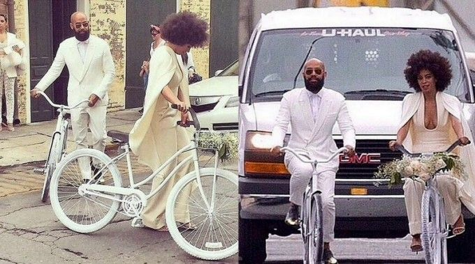 She doesn't let White Van Man put her off. Well done Solange and fiance for getting to church on time in the coolest way possible!