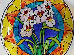 Роспись в витражной технике. 2 в1:) Тарелка - ваза для фруктов. | Ярмарка Мастеров - ручная работа, handmade