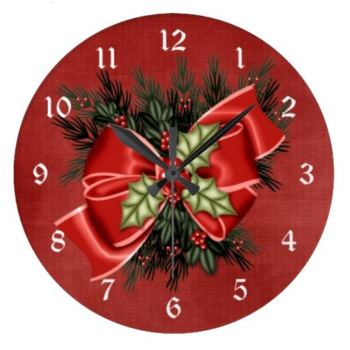 Holiday Greenery & Red Bow Christmas Clock