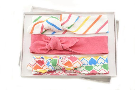 Baby Girl Headband Set/ Set of 3 Headbands/Organic Baby Headbands/Knotted Headbands/ Rainbow/Stripes/Hearts Headbands. This collection