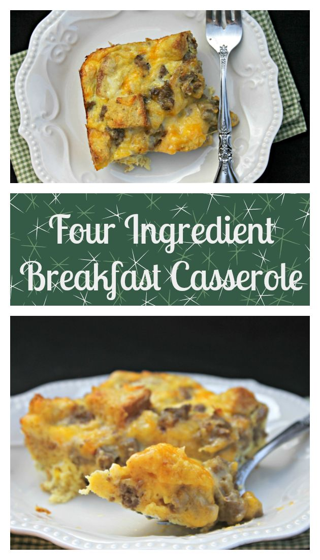 This four ingredient breakfast casserole recipe is a holiday morning tradition.  This easy breakfast recipe is a family favorite.