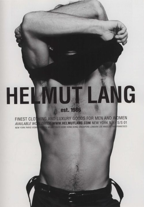 "organization: "" Helmut Lang Menswear advertisement, When Love Comes to Town s/s 2001 Photo: Inez van Lamsweerde and Vinoodh Matadin """