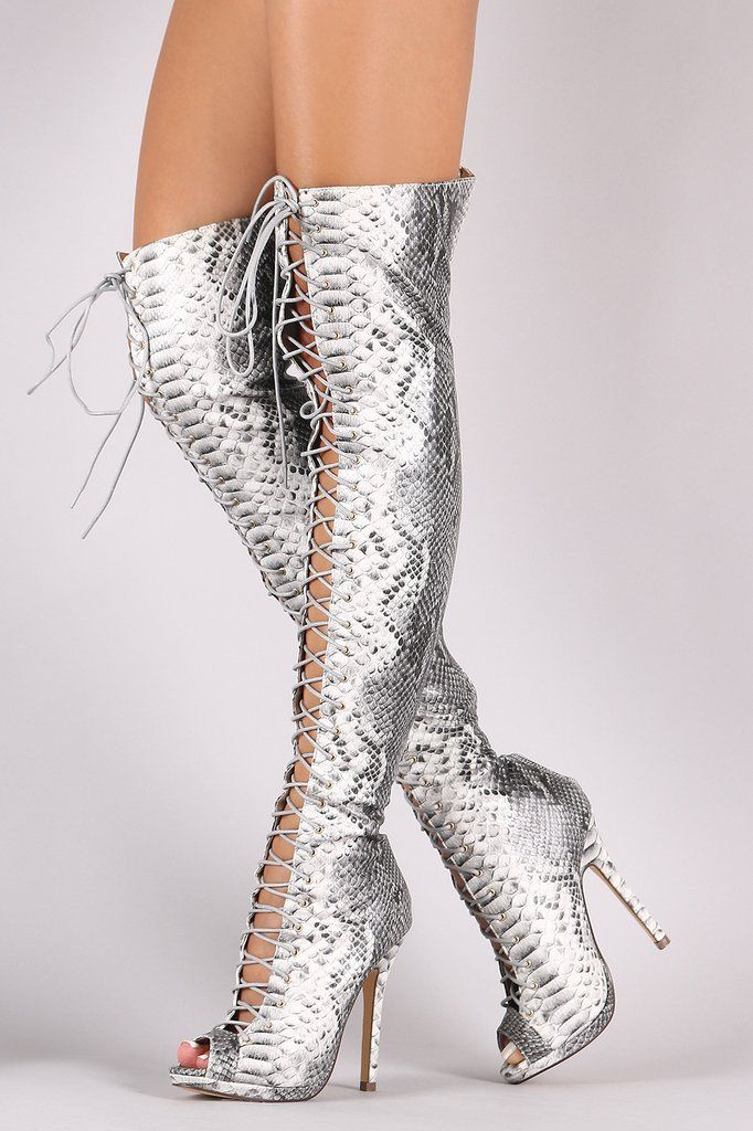9437b7c71b Liliana Python Lace Up Stiletto Heeled Over-The-Knee Boots ...