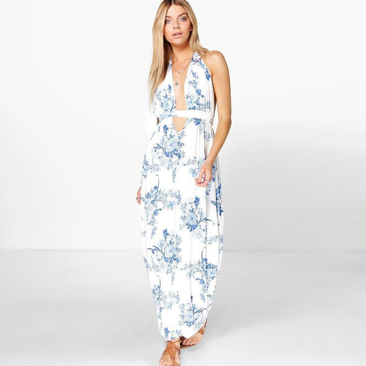 Women's Boho Floral White and Blue Maxi Dress