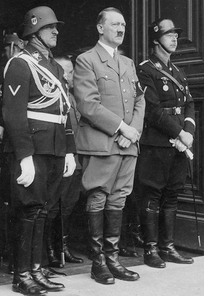 Never forget what people have done in the name of a charismatic ruler :(    Sepp Dietrich, Adolf Hitler and Heinrich Himmler, April 1937.