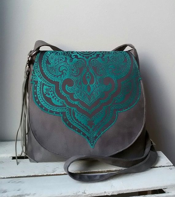 Gray turquoise  messenger bag Evening bag Sling crossbody bag Oriental bag Hippie bag Medium size bag Boho chic Vegan bag  Valentines gift