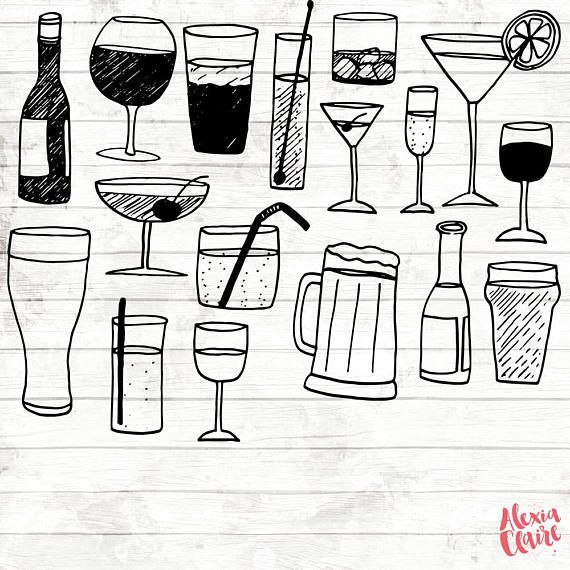 Alcohol Clipart  17 Hand Drawn drink Cliparts  alcoholic