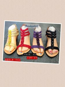 sandal untuk wanita hak tinggi kulit monte batu