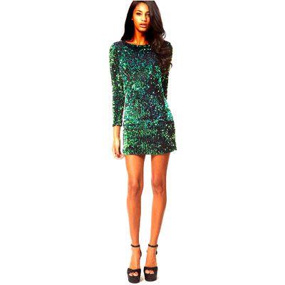 39,90EUR Glitzerkleid Paillettenkleid grün Kleid mit Glitzer