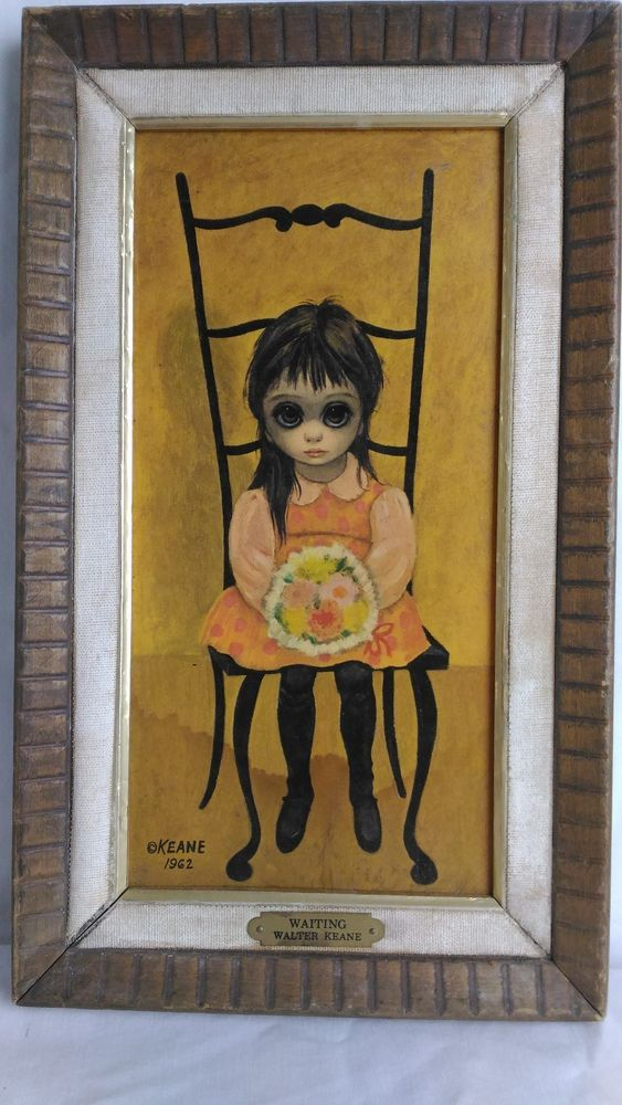 Waiting 1962 Margaret Walter Keane BIG EYES Print Original Frame Brass Tag  #PopArt