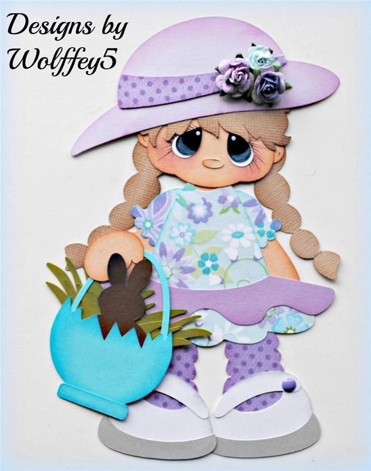 ELITE4U EASTER GIRL  paper piecing premade scrapbook page album border  WOLFFEY5
