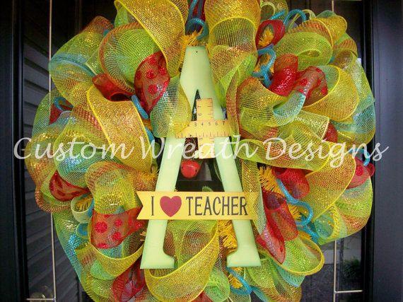 I Love Teacher Mesh Wreath by lilmaddy12 on Etsy, $75.00