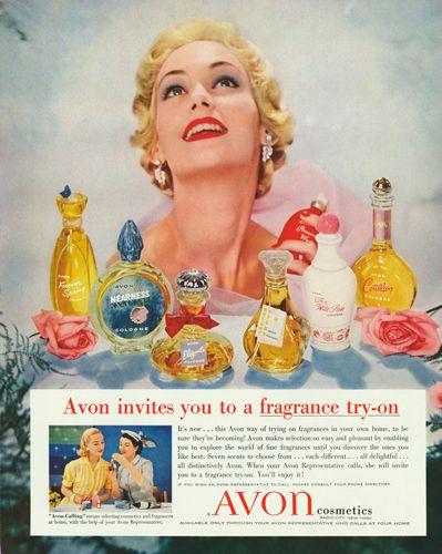 Hurmaava Avon-lady levitti tuoksua maailmaan jo 1950-luvulla   Lovely vintage Avon-lady scenting the beautiful world in 1950s #perfume #hajuvesi
