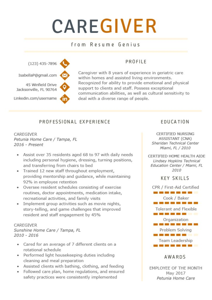 Caregiver resume example writing guide resume examples
