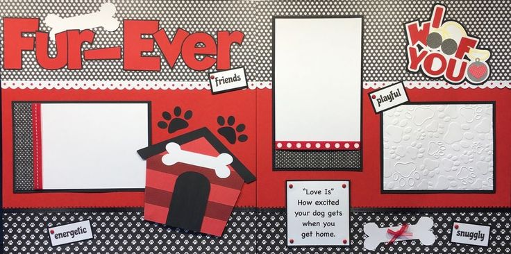 FUR-EVER FRIENDS Puppy Dog Scrapbook Layout - 12 x 12 - 2 Pages - Pre-Made