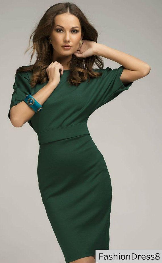 Vestido verde, vestido de cintura alta Simple túnica Jersey de gran tamaño.