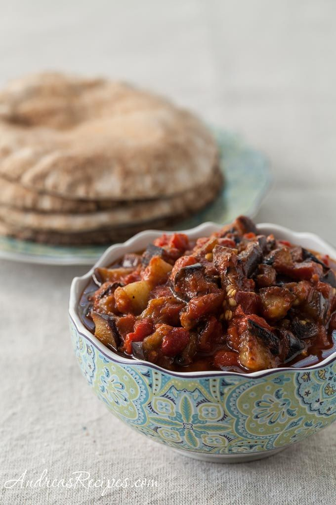Middle Eastern Eggplant and Tomato Salad - summer's bounty in a bowl.