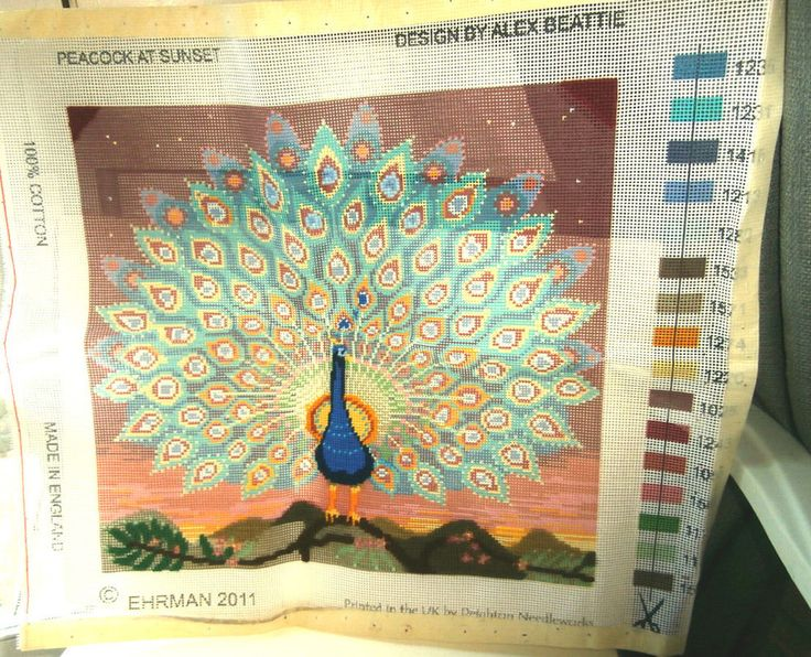 Ehrman Peacock at Sunset Alex Beattie - canvas only - has been started 14 X13.25 #ehrman
