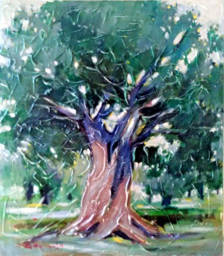 OLIVE-TREE-Painting-On-Canvas-Signed-large-size-80-cm-x-90-cm