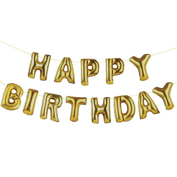 Foil Gold Balloon Giant Happy Birthday Banner 16''