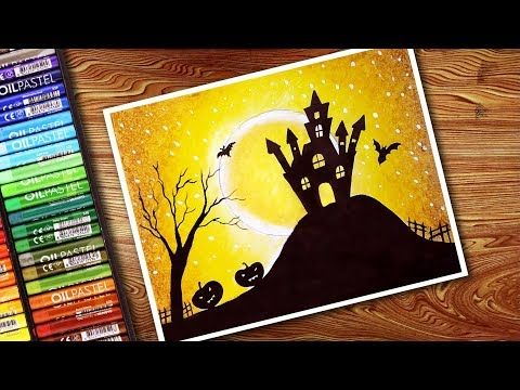 46 Cute Easy Halloween Drawing With Oil Pastels Step By Step