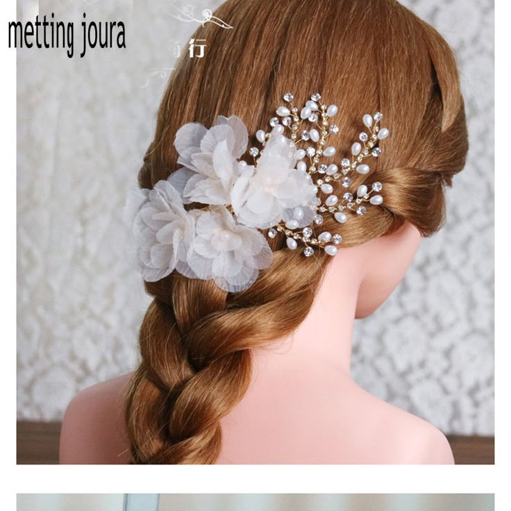 Metting Joura wedding party bridal  light pin silk flower Hair Pin with Pearl rhinestone bride hair accessories hair jewelry -in Hair Accessories from Women's Clothing & Accessories on Aliexpress.com | Alibaba Group
