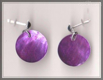 Purple MOP Shell Bead Silver Plated Stud Earrings  by MadAboutIncense - $8.50