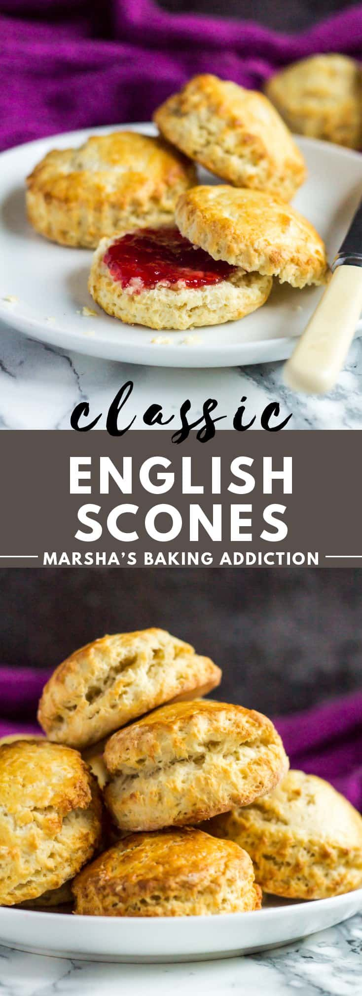 A long Pinterest image for Classic English Scones with text overlay.