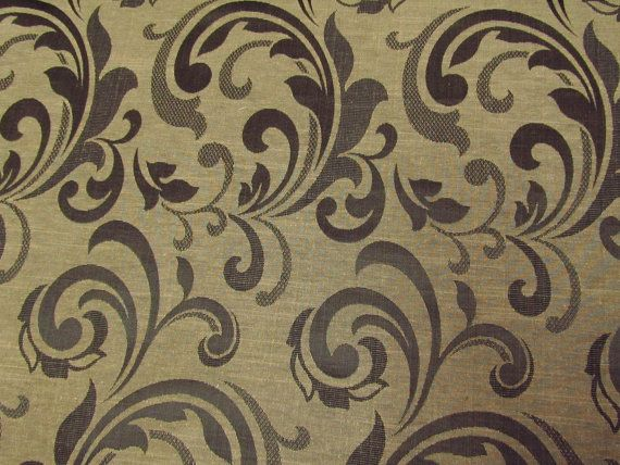 Custom Black and Beige Curtains in Damask Pattern- One  44in X 96in Panel with lining Custom sizes available