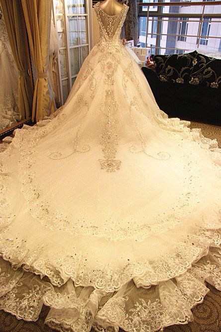 Wedding dress with sequin accents.