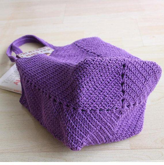 Lila Häkelmarkt, Crochet-Strandtasche, Crochet-Seiltasche, Boho Schultertasche, Handbautasche, Tasche, Bohotasche