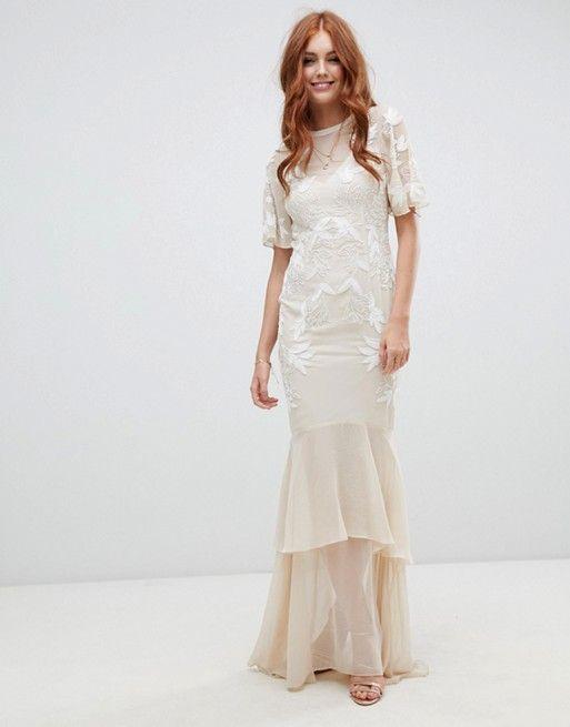 b4696a75271d Hope & Ivy embellished bridal dress with open back detail in vintage ivory