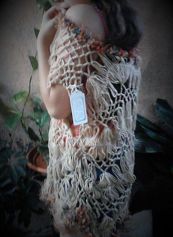 Chaleco tejido en tecnica de Horquilla