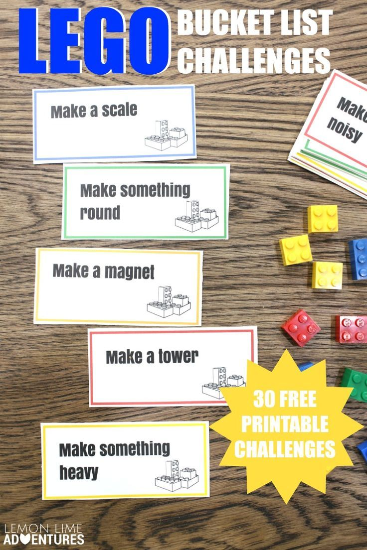 Lego Bucket List Challenges   Love this printable of ideas for lego building challenges