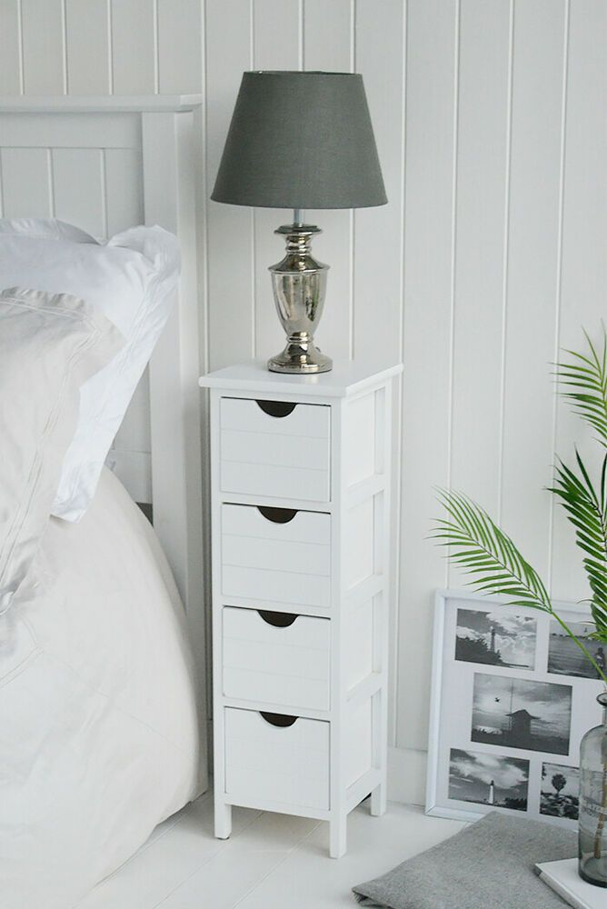 Details About Dorset White Bedside Slim Narrow Table Cabinet 4