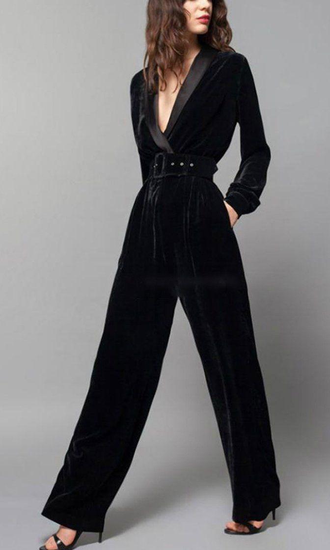 Ladies Black Velvet Pantsuit