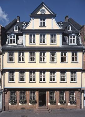 """The Goethe House in the Innenstadt district of Frankfurt am Main, Germany.  This is where Johann Wolfgang Goethe was born on the 28th of August 1749 """"at midday, as the clock was striking twelve"""", and where he grew up with his sister Cornelia."""
