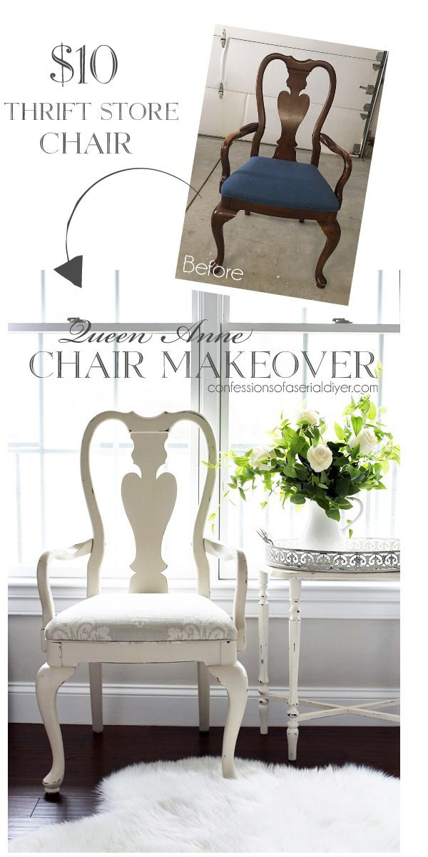 Queen Anne Chair Makeover Chair Makeover Dining Chair Makeover Queen Anne Furniture